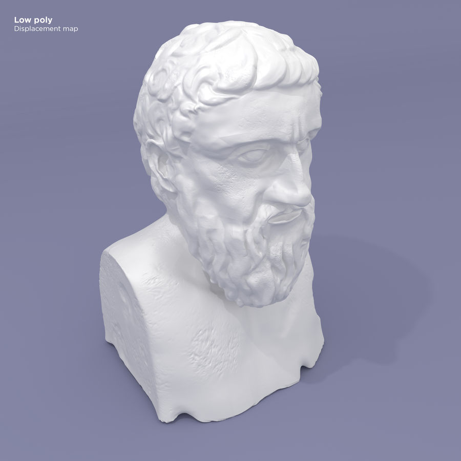 Plato Bust royalty-free 3d model - Preview no. 11