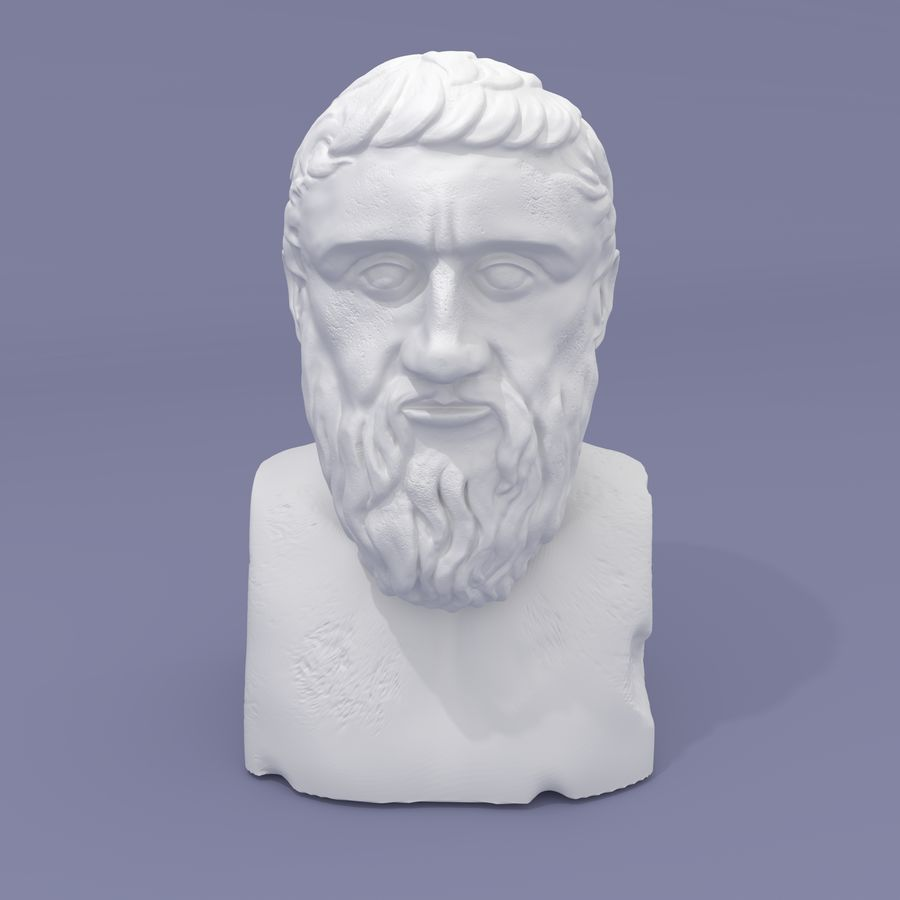 Plato Bust royalty-free 3d model - Preview no. 3