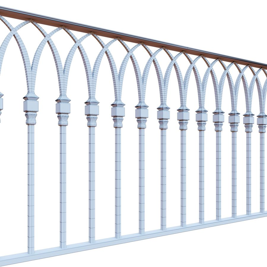 Railing old iron royalty-free 3d model - Preview no. 4