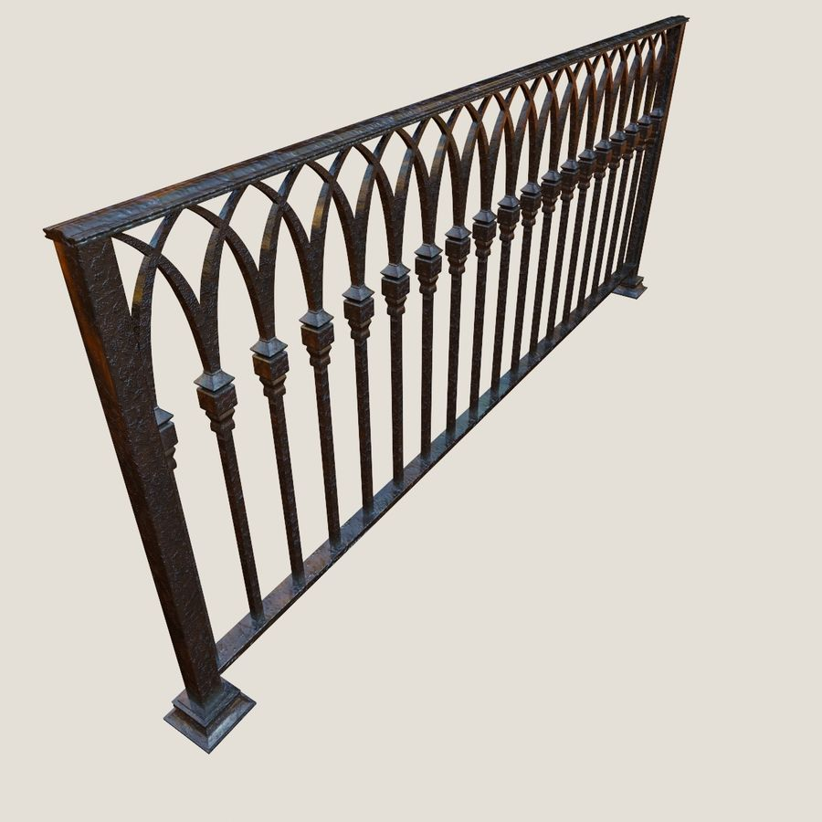 Railing old iron royalty-free 3d model - Preview no. 1