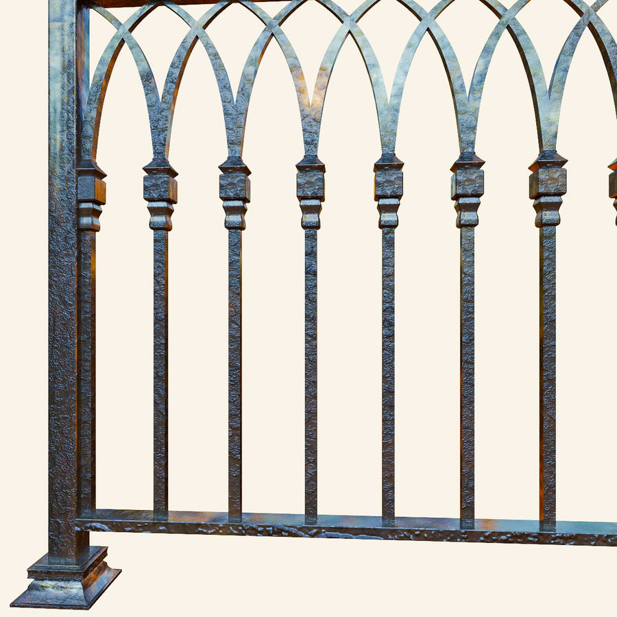 Railing old iron royalty-free 3d model - Preview no. 2