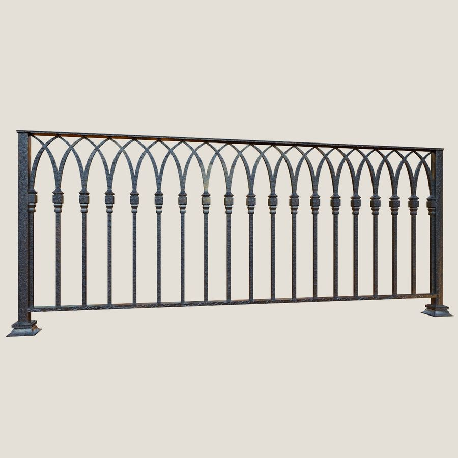 Railing old iron royalty-free 3d model - Preview no. 3