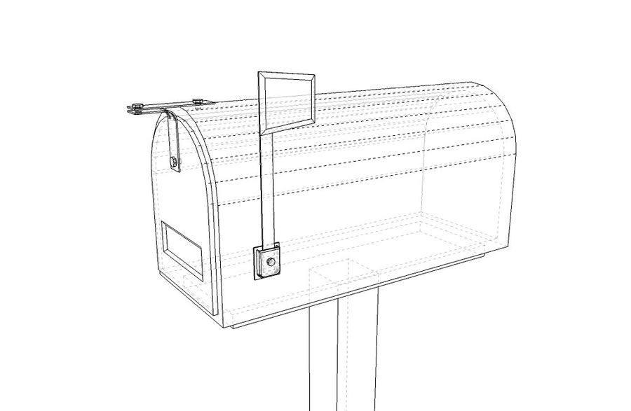 Mailbox with stand royalty-free 3d model - Preview no. 5