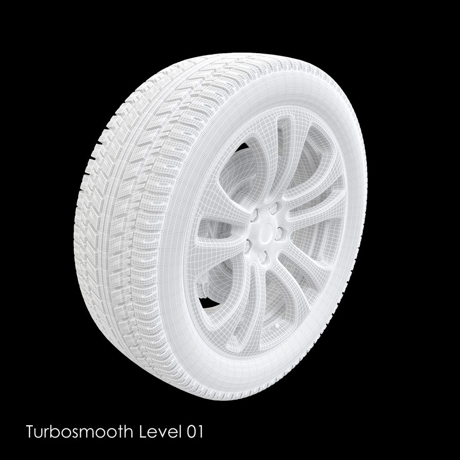 Car Wheel With Alloy Disc royalty-free 3d model - Preview no. 13