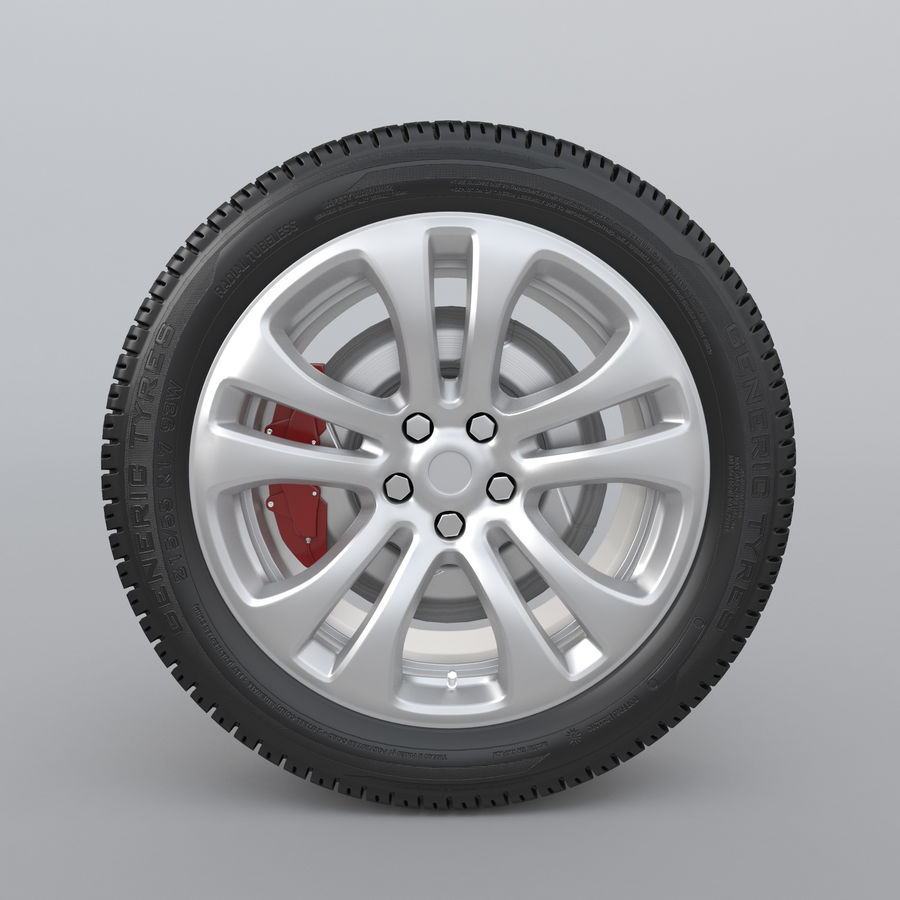 Car Wheel With Alloy Disc royalty-free 3d model - Preview no. 5