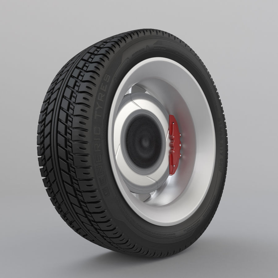 Car Wheel With Alloy Disc royalty-free 3d model - Preview no. 4