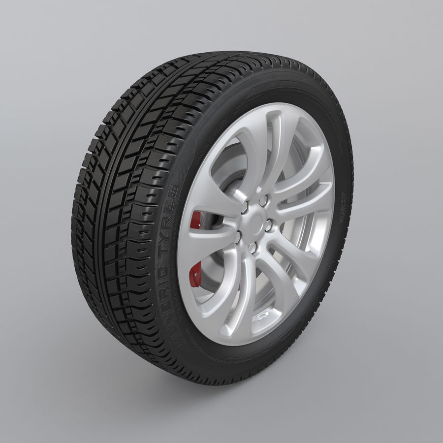 Car Wheel With Alloy Disc royalty-free 3d model - Preview no. 2