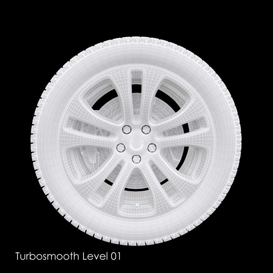 Car Wheel With Alloy Disc royalty-free 3d model - Preview no. 16