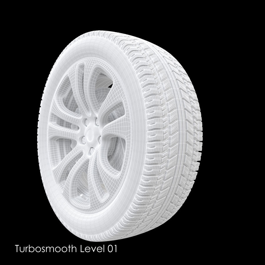 Car Wheel With Alloy Disc royalty-free 3d model - Preview no. 14
