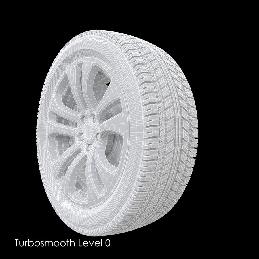 Car Wheel With Alloy Disc royalty-free 3d model - Preview no. 9