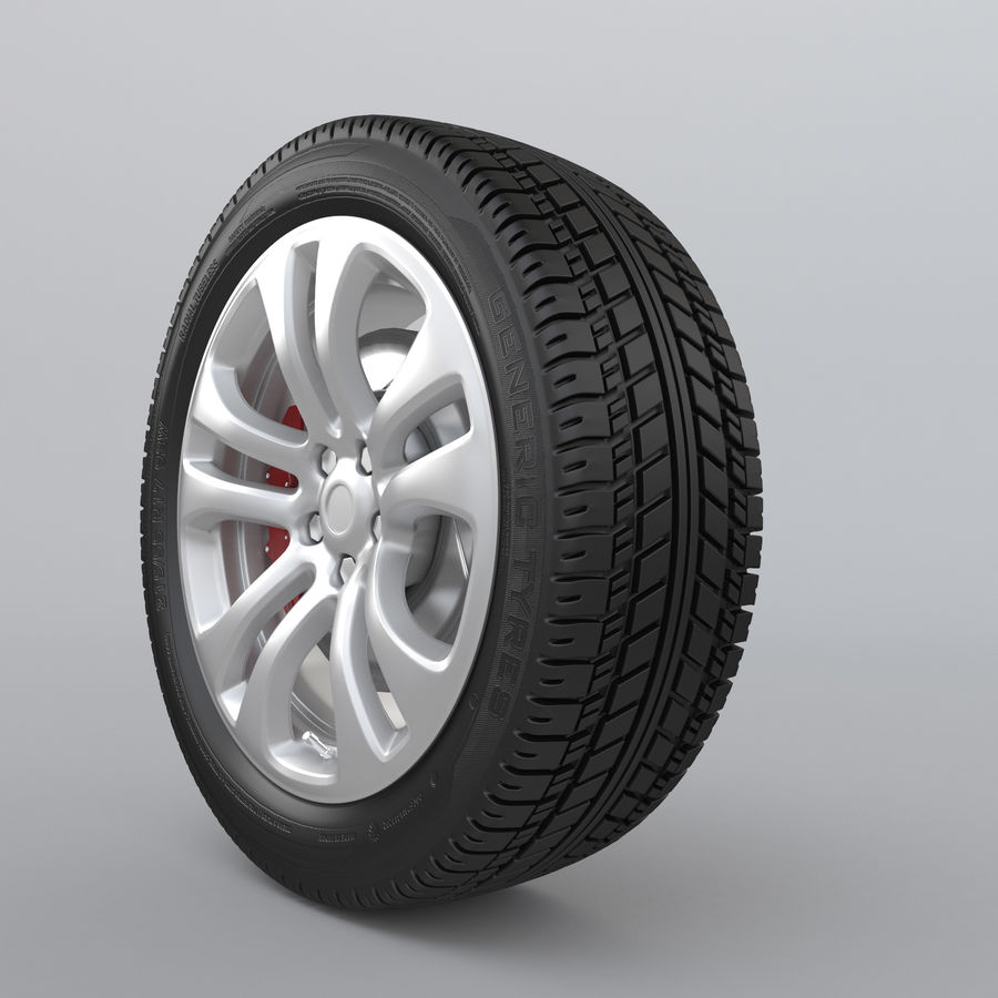 Car Wheel With Alloy Disc royalty-free 3d model - Preview no. 3