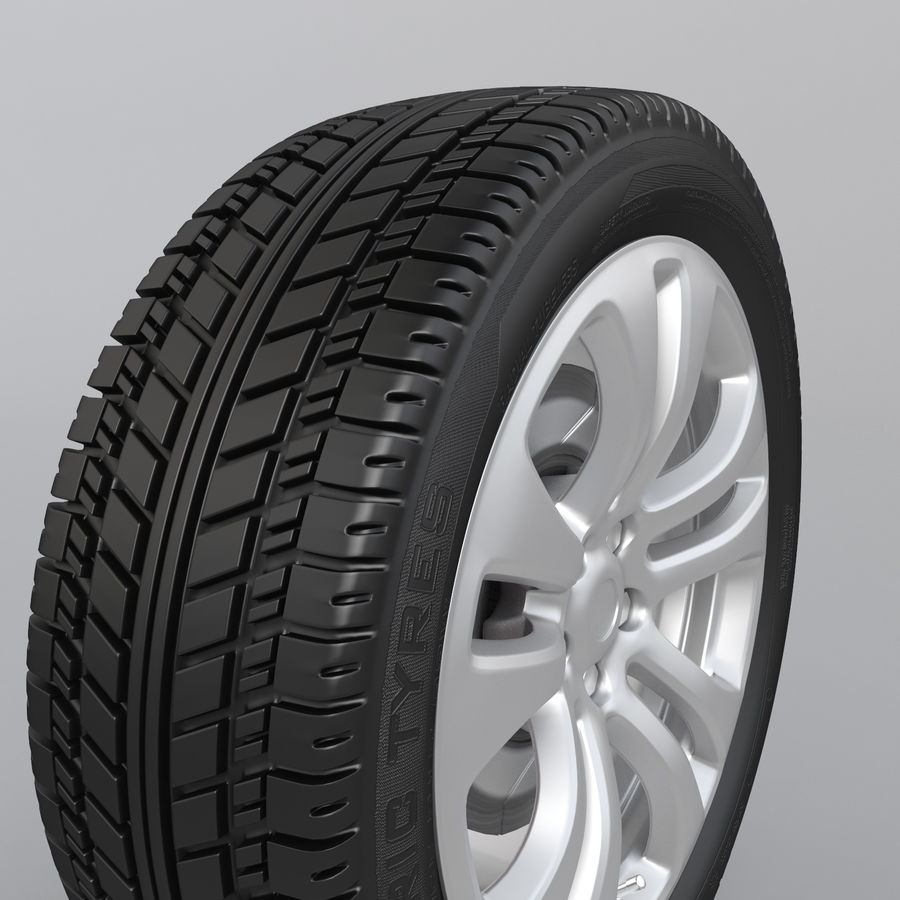 Car Wheel With Alloy Disc royalty-free 3d model - Preview no. 6