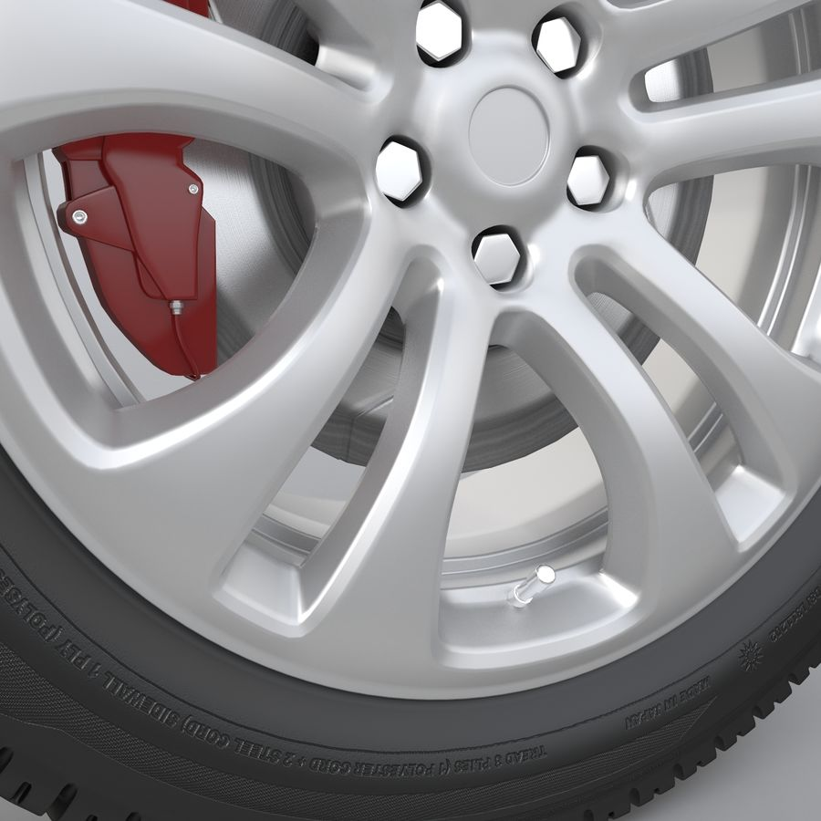 Car Wheel With Alloy Disc royalty-free 3d model - Preview no. 7
