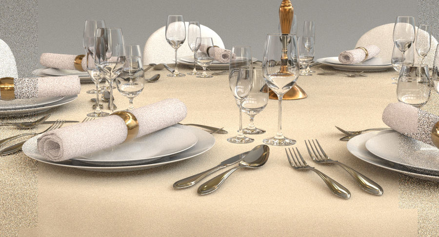 Mesa de banquete 03 royalty-free modelo 3d - Preview no. 7