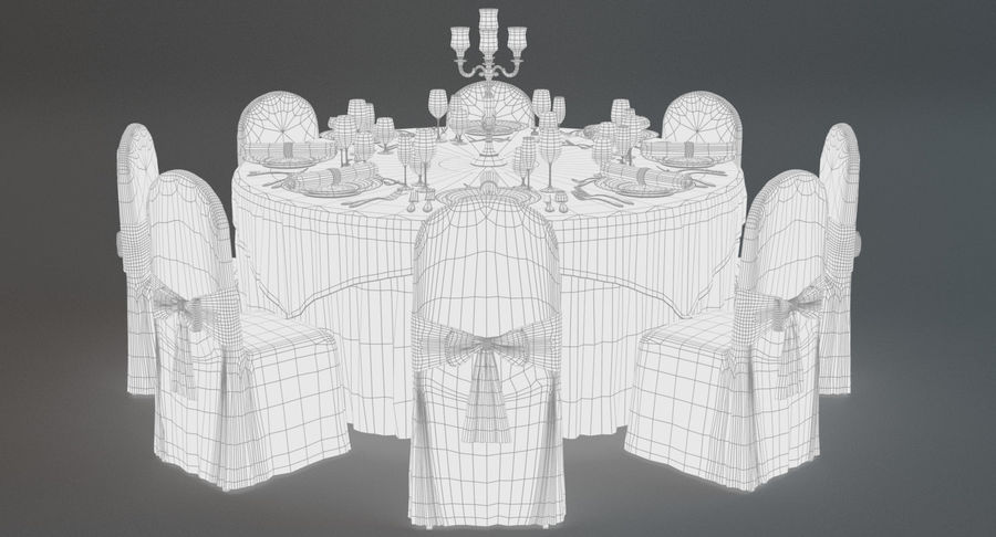 Mesa de banquete 03 royalty-free modelo 3d - Preview no. 8