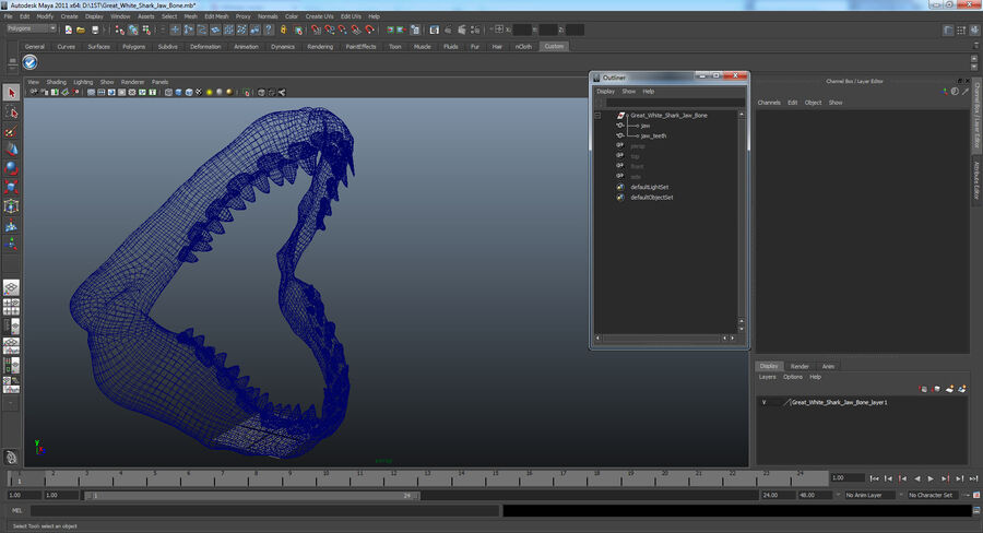 Great White Shark Jaw Bone 3D Model royalty-free 3d model - Preview no. 15