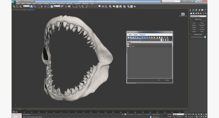 Great White Shark Jaw Bone royalty-free 3d model - Preview no. 14