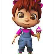 Girl Character Cartoon V1 3d model