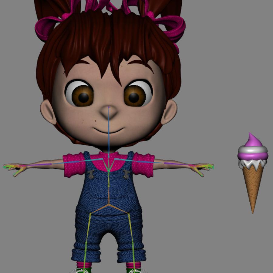 Girl Character Cartoon V1 royalty-free 3d model - Preview no. 13