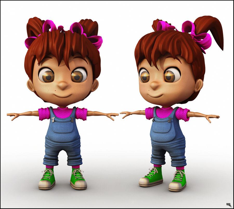 Girl Character Cartoon V1 royalty-free 3d model - Preview no. 2
