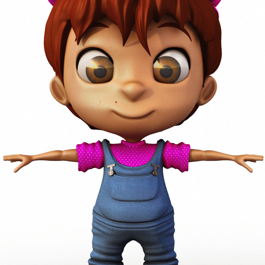 Girl Character Cartoon V1 royalty-free 3d model - Preview no. 3