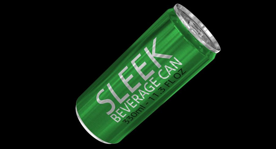 330ml 11.3oz Sleek Beverage Can royalty-free 3d model - Preview no. 3