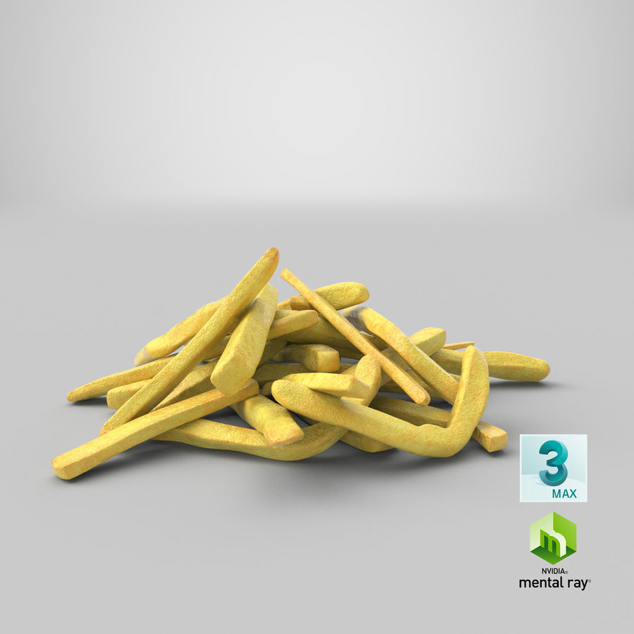 Fries Pile 01 royalty-free 3d model - Preview no. 24