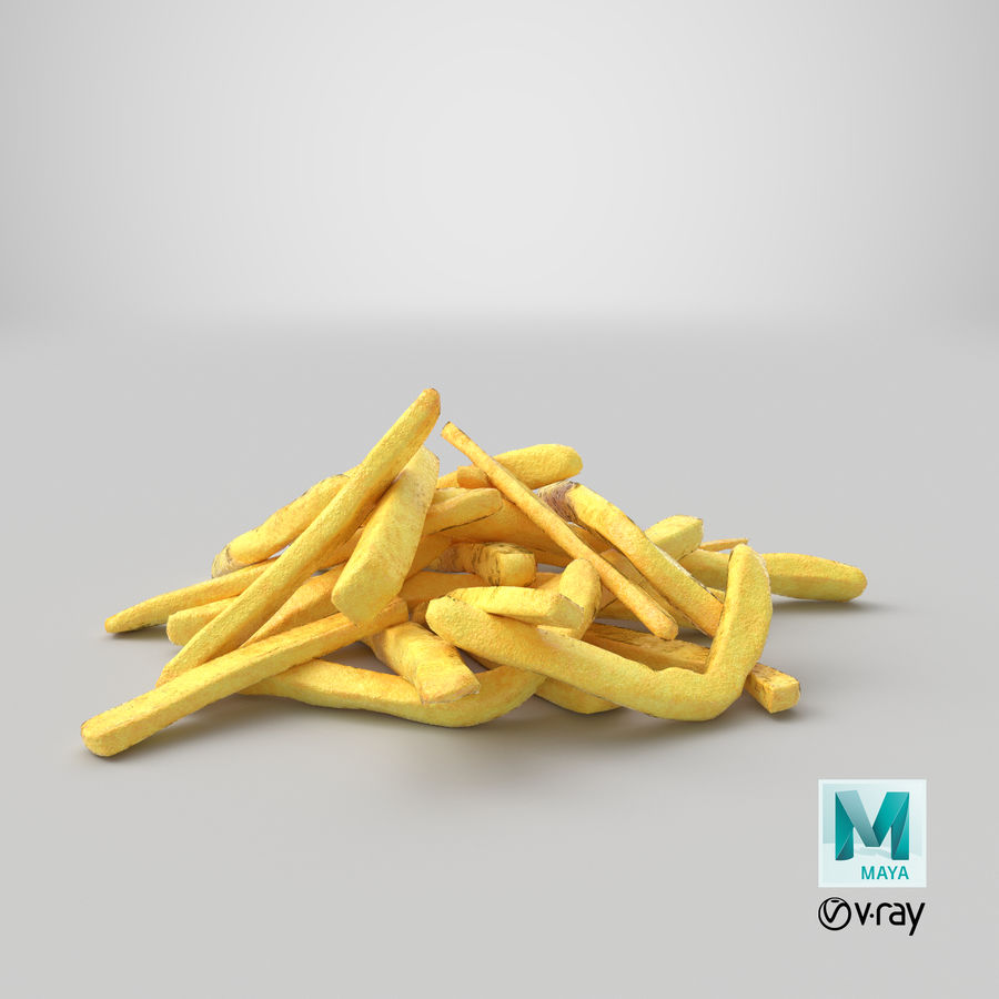 Fries Pile 01 royalty-free 3d model - Preview no. 21
