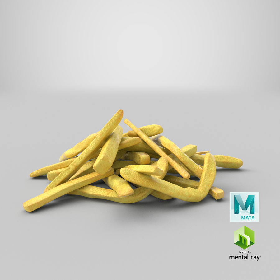 Fries Pile 01 royalty-free 3d model - Preview no. 22