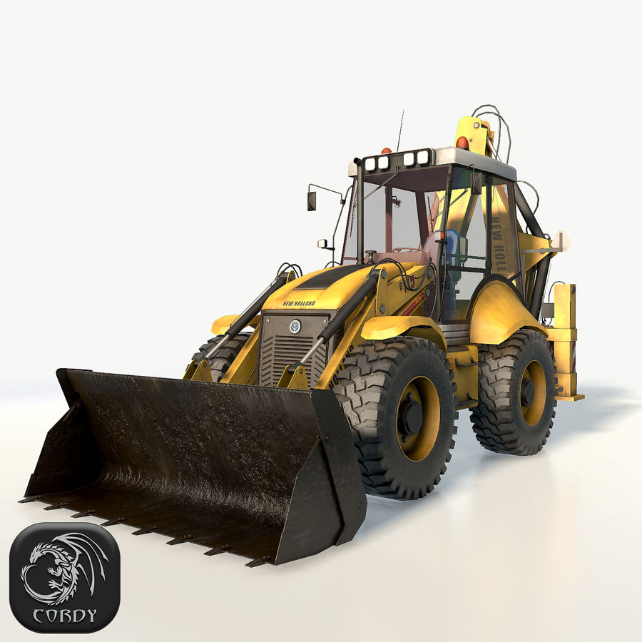 New holland B115 Backhoe loader royalty-free 3d model - Preview no. 1