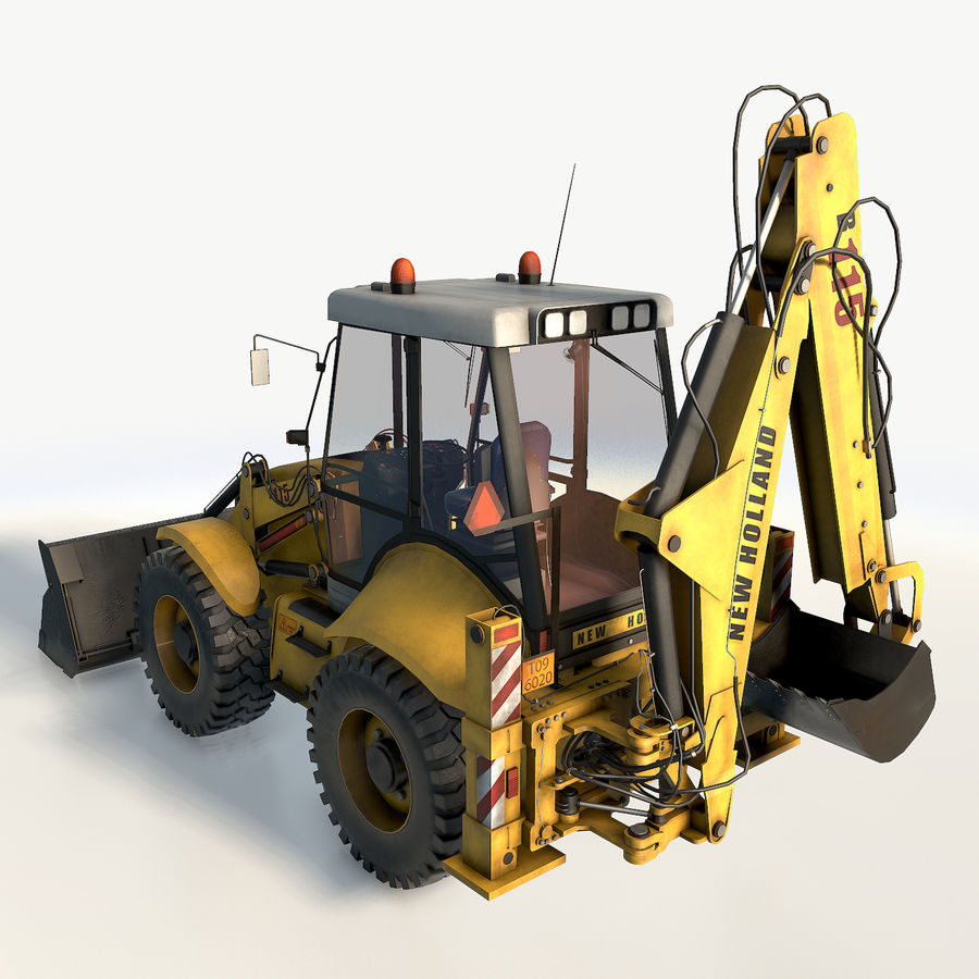 New holland B115 Backhoe loader royalty-free 3d model - Preview no. 8