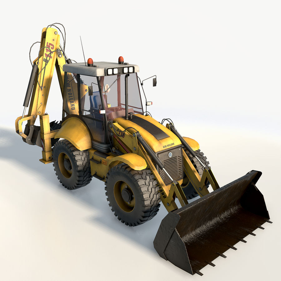 New holland B115 Backhoe loader royalty-free 3d model - Preview no. 4