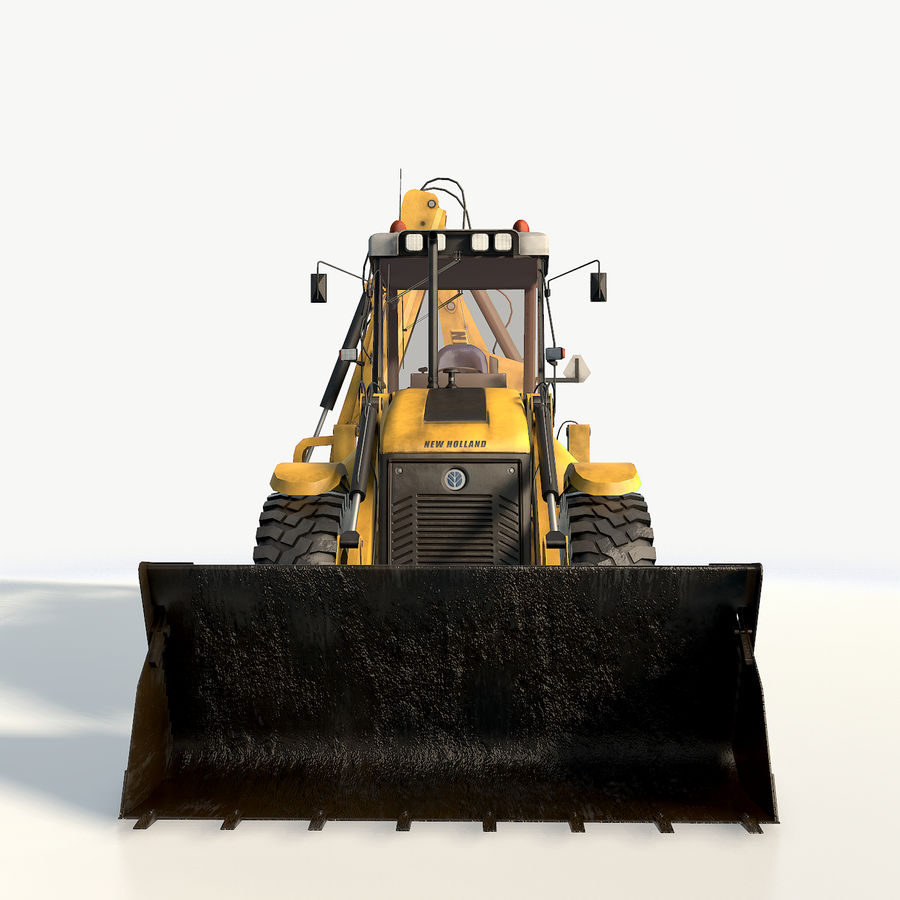New holland B115 Backhoe loader royalty-free 3d model - Preview no. 11