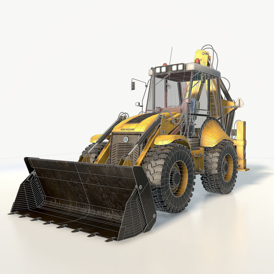 New holland B115 Backhoe loader royalty-free 3d model - Preview no. 3