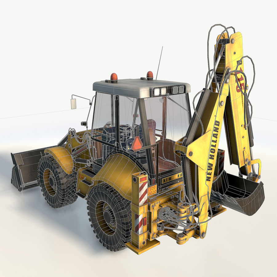 New holland B115 Backhoe loader royalty-free 3d model - Preview no. 9