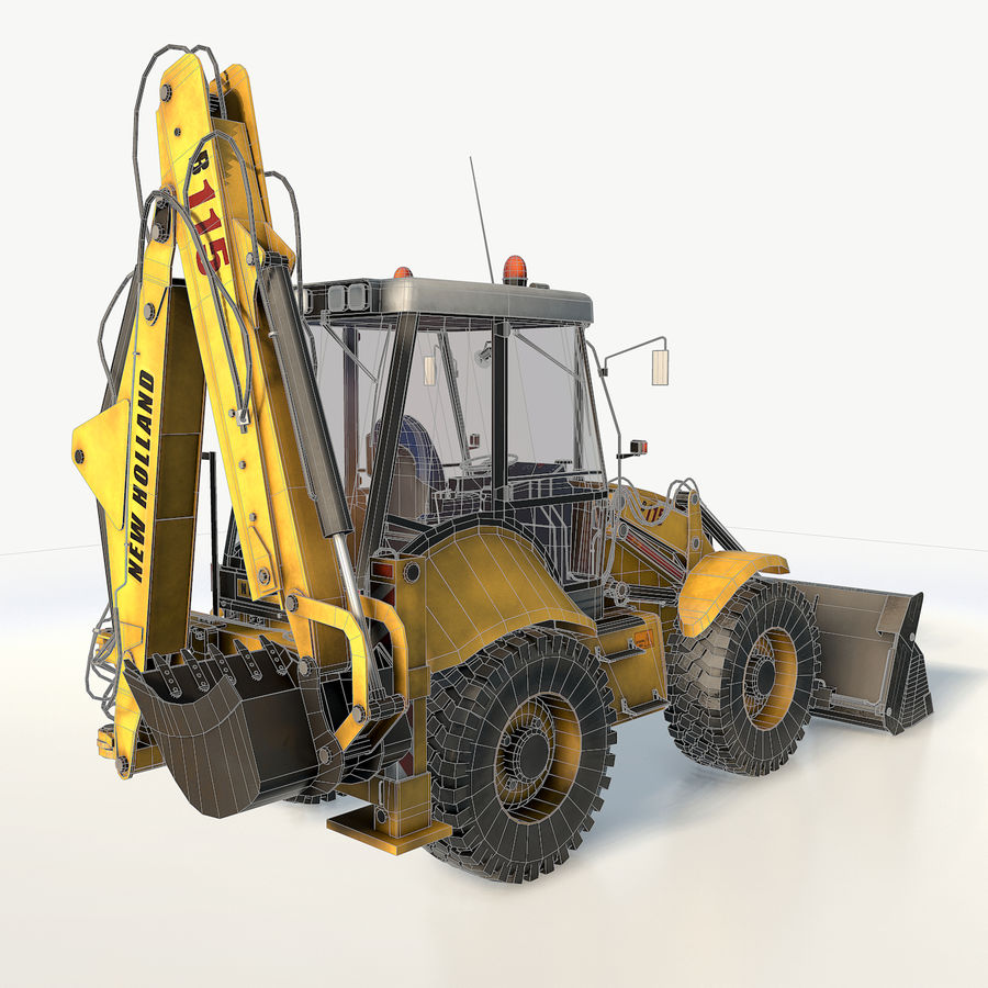 New holland B115 Backhoe loader royalty-free 3d model - Preview no. 7