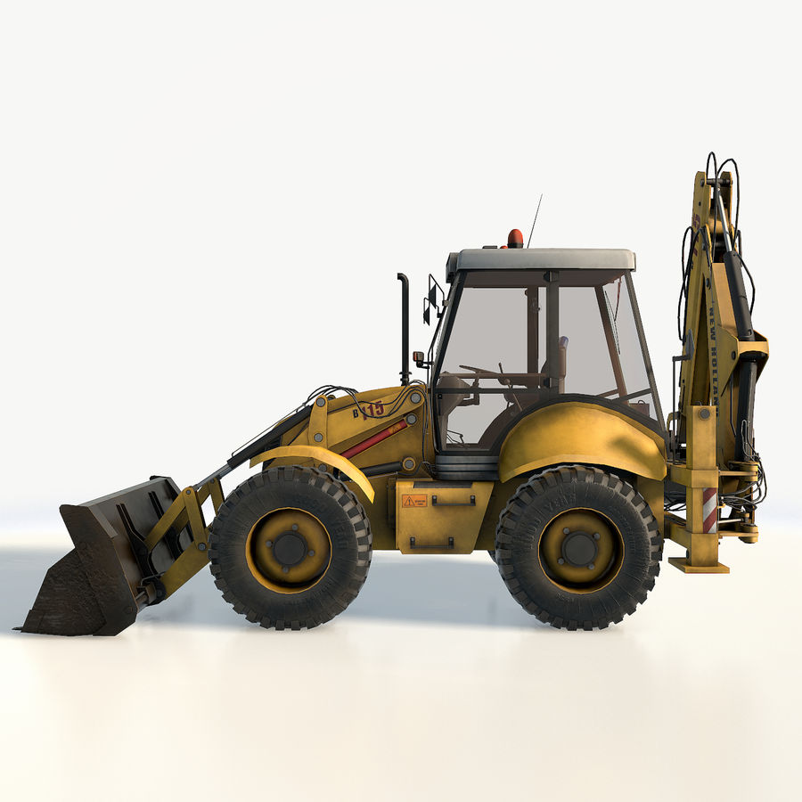 New holland B115 Backhoe loader royalty-free 3d model - Preview no. 10