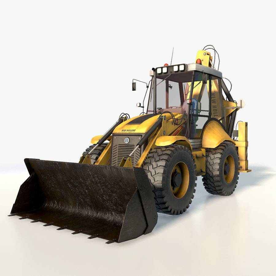 New holland B115 Backhoe loader royalty-free 3d model - Preview no. 2
