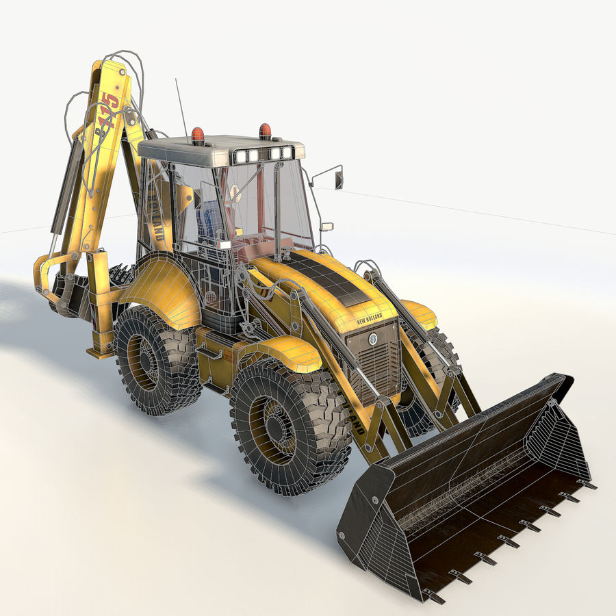 New holland B115 Backhoe loader royalty-free 3d model - Preview no. 5