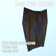 Ręcznie malowana tarcza Low Poly 3d model