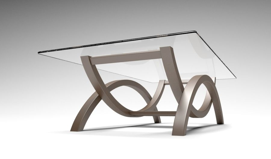 Glass Table royalty-free 3d model - Preview no. 3