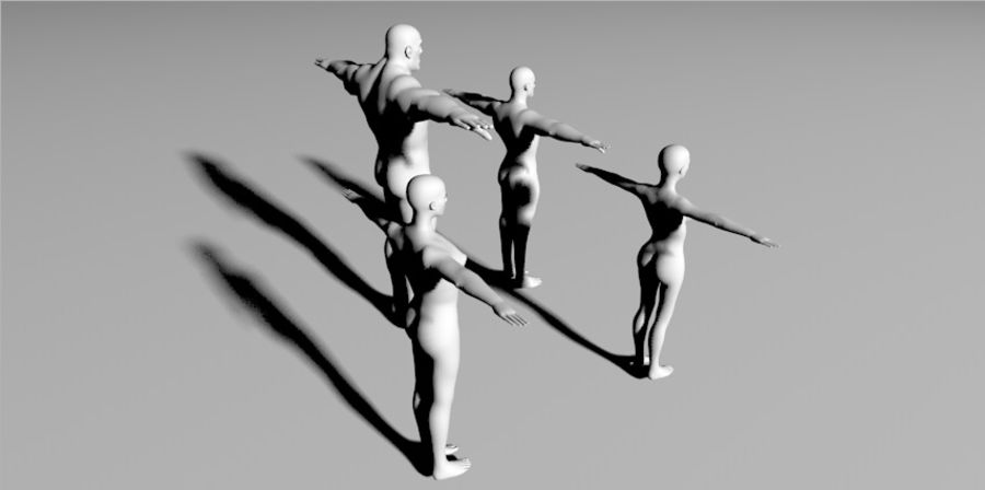 4 human  3d base RIGGED mesh royalty-free 3d model - Preview no. 2