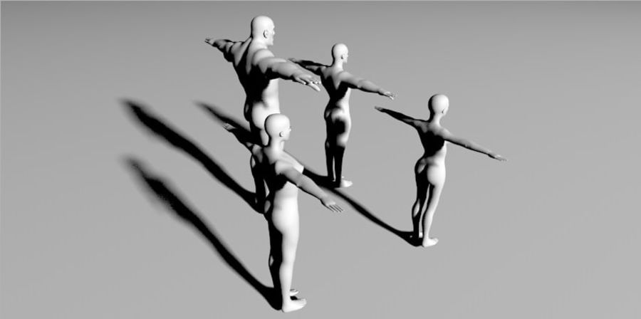 4 human  3d base RIGGED mesh royalty-free 3d model - Preview no. 2