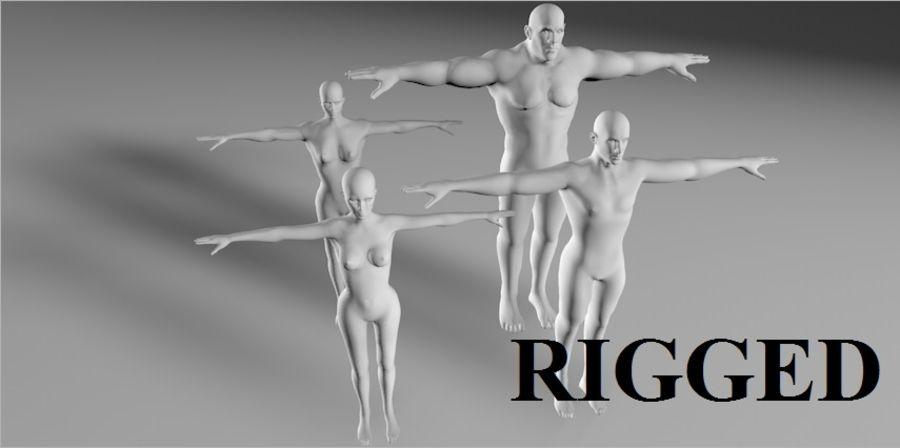 4 human  3d base RIGGED mesh royalty-free 3d model - Preview no. 1