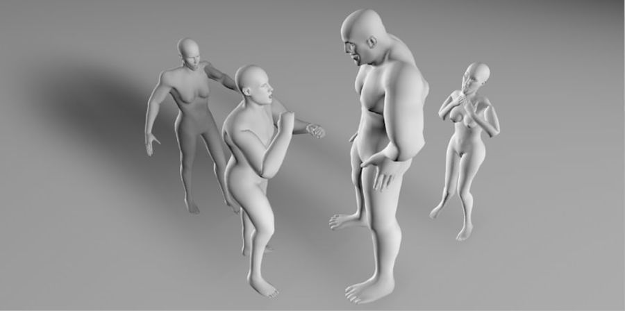 4 human  3d base RIGGED mesh royalty-free 3d model - Preview no. 3
