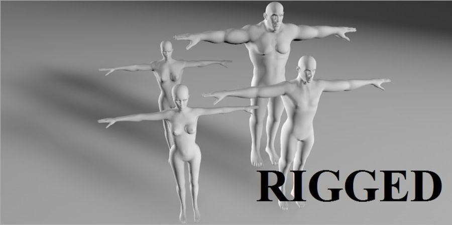 4 human  3d base RIGGED mesh royalty-free 3d model - Preview no. 1
