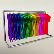 Colorful T-shirts rack 3d model
