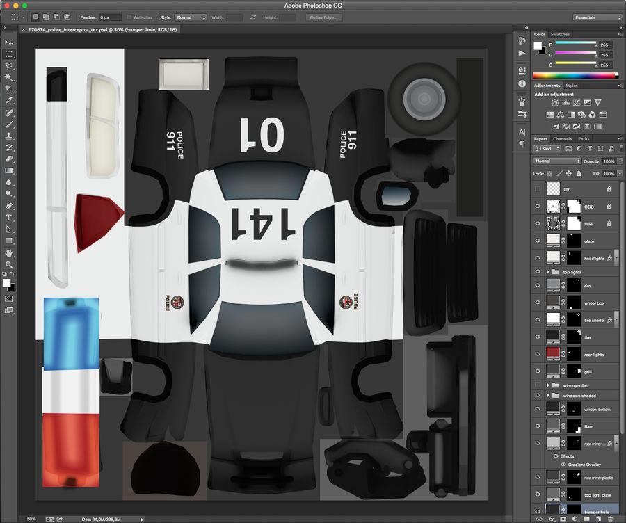 Låg poly LAPD polisbil royalty-free 3d model - Preview no. 10