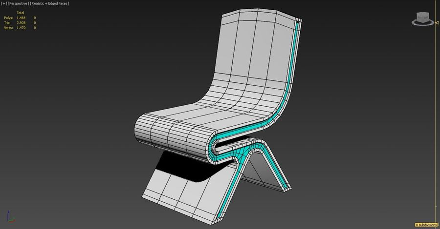 Nowoczesne krzesło royalty-free 3d model - Preview no. 5