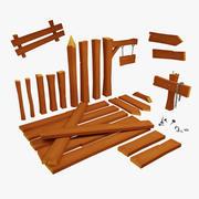 Ensemble de bois modulaire Lowpoly 3d model